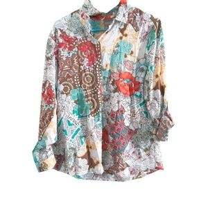 NWT Chico's Mixed Floral Geometric Button Up Shirt